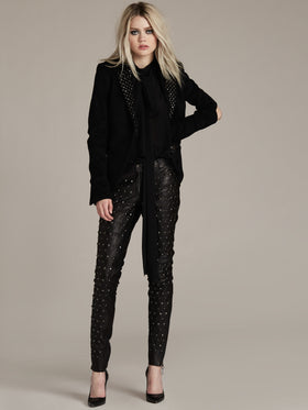Cutout Elbow Studded Cashmere Blend Jacket - Thomas Wylde