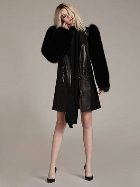 Supple Leather Coat With Removable Fur Sleeve