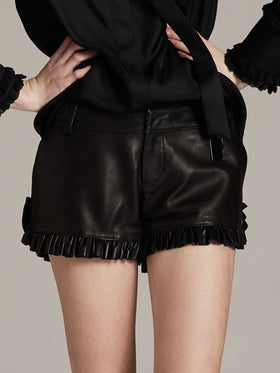 Supple Leather Shorts With Ruffle Hem Detail