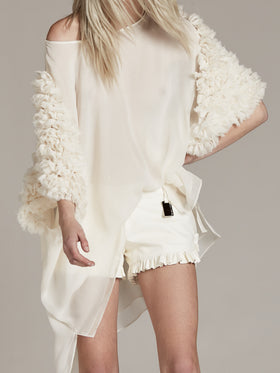 Ruffled Sleeve Boatneck Tunic - Thomas Wylde