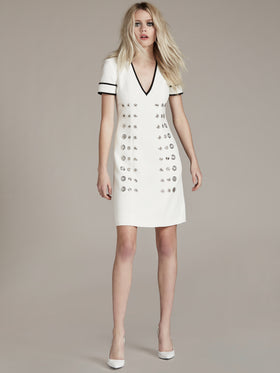 Bi-Stretch Cotton Viscose Grommet Dress - Thomas Wylde