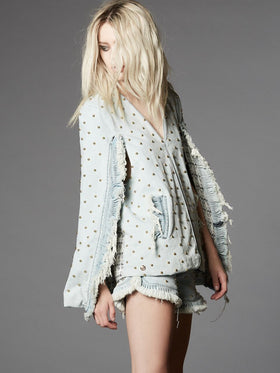 Distressed Denim Cape With Ruffle With Studding Detail - Thomas Wylde