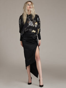 Blouson Sleeve Silk Printed Blouse - Thomas Wylde