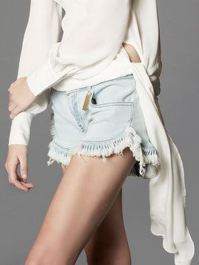 Ruffled Super Bleached Denim Shorts