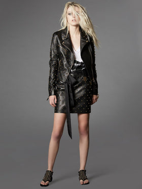Leather Biker Jacket With Hand-Made Pearl Studding Detail - Thomas Wylde