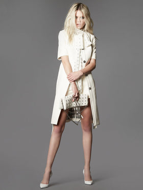 Supple Leather Cropped Sleeve Coat With Studded Leather Belt