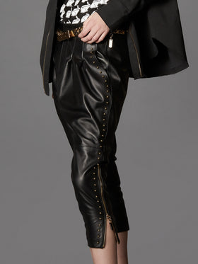 Slouchy Drop Crotch Supple Leather Pant With Pearl Studding Detail