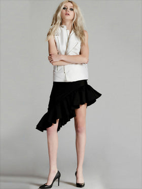 Asymmetric Silk Cotton Suiting Skirt
