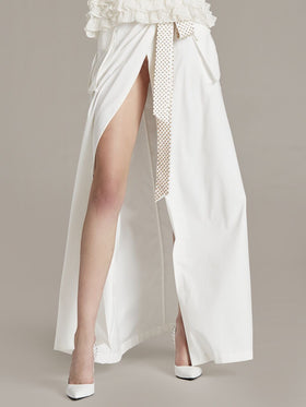 Cupro Long Skirt With Studded Snap Opening - Thomas Wylde