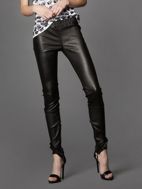 Stretch Supple Leather Ruffle Leggings