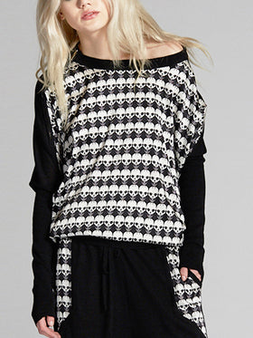 Skull Contrast Front Panel Cashmere pullover
