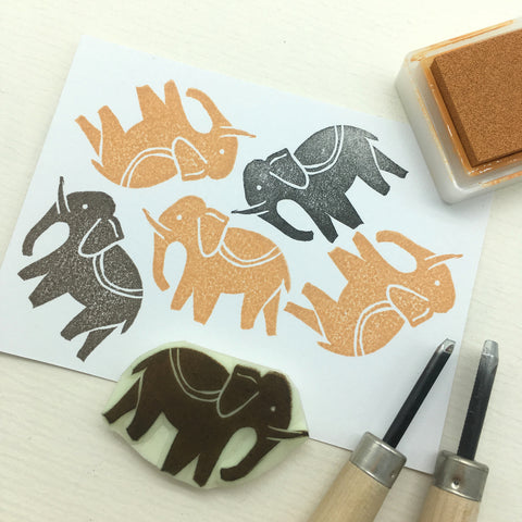 cambodia angkor rubber stamp elephant