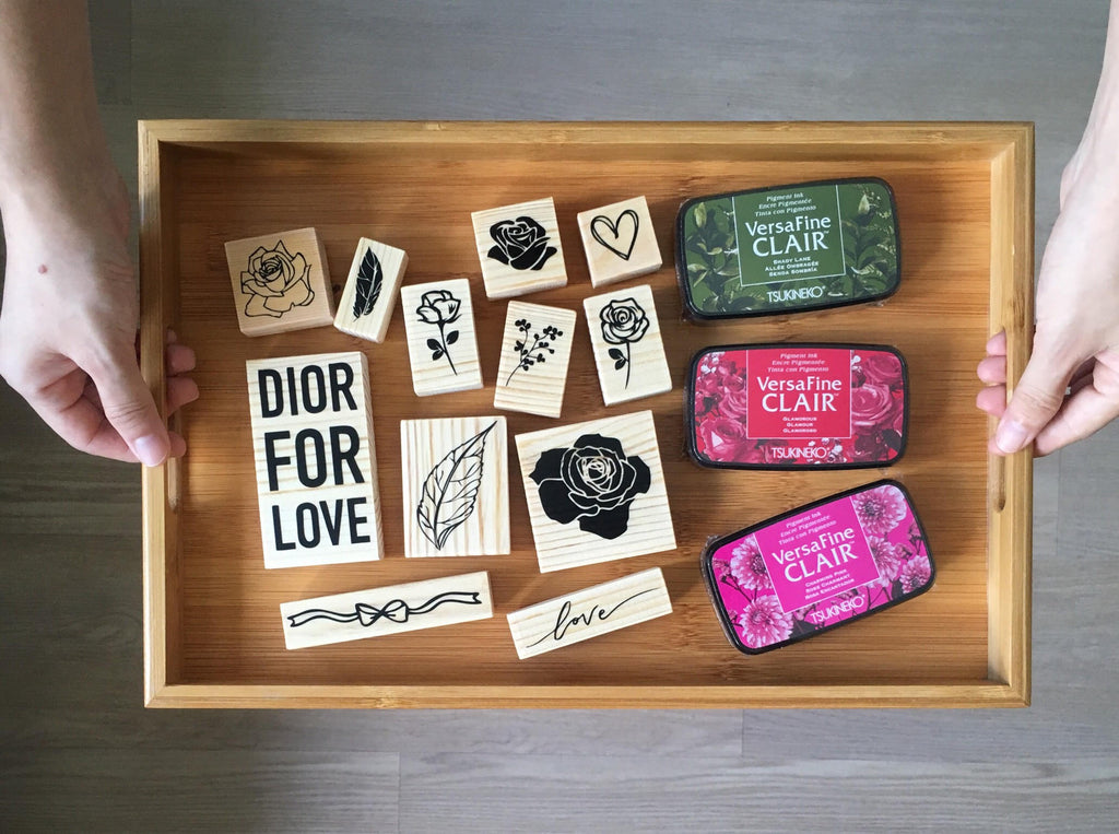 custom stamp set singapore wooden