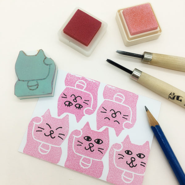 lucky fortune cat manekineko stamp parademade