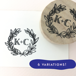 Custom Botanical Monogram Stamp