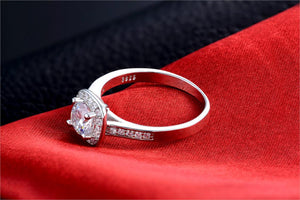 Silver Plated Plated Wedding Rings Square Simulated Zircon Jewelry