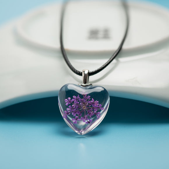 Heart Glass Pendant Necklace Artware