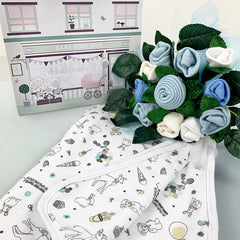 Little Love Welcome Baby Clothes Posy and Blanket, Blue