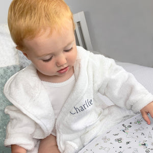 Little Love Bath and Bedtime Hamper, Grey - 6-12 Months with White Personalised Bathrobe