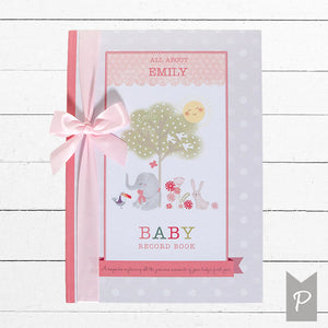 Personalised Baby Record Book, Pink