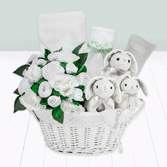 Personalised Three Little Bunnies Luxury New Baby Hamper – White