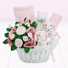 NOTHS Personalised Three Little Bunnies Luxury New Baby Hamper – Pink