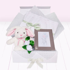 Christening Memories Keepsake Box with Little Pink Bunny