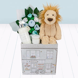 Lion Welcome Baby Hamper, Blue