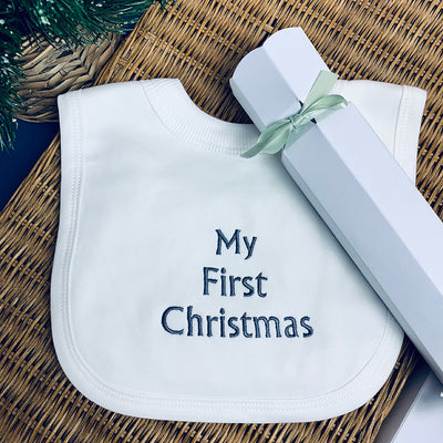 Baby's 'My First Christmas' Cracker Bib, Pewter