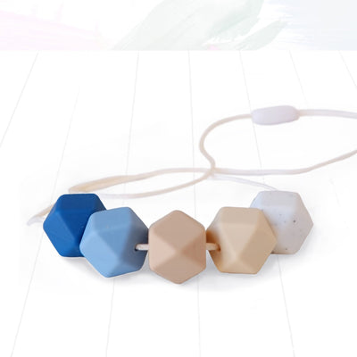 Blossom and Bear Hexagon Teething Necklace Blue