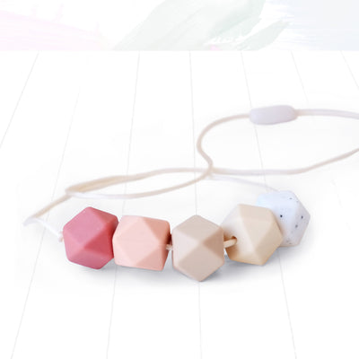 Blossom and Bear Hexagon Teething Necklace – Pink