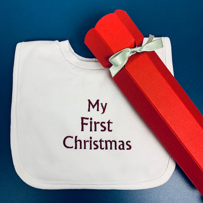 "Baby's ""My First Christmas"" Bib Christmas Cracker"