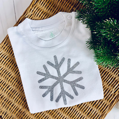 Snowflake Sparkle Children's Christmas T-Shirt – Personalised