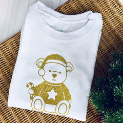 Gold Sparkle Teddy Bear Children's Christmas T-Shirt - Personalised