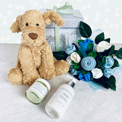 Fuddlewuddle Welcome Baby Hamper, Blue