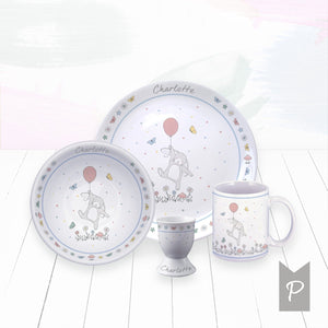 Personalised Little Bunny Bone China Breakfast Set, Pink