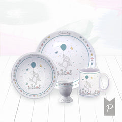 Personalised Little Bunny Bone China Breakfast Set, Blue