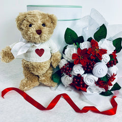 Bertie Bear's Valentine's Day Baby Clothes Bouquet