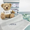 Personalised Bertie Bear with Blanket, Grey
