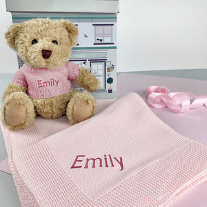 Personalised Bertie Bear with Blanket, Pink