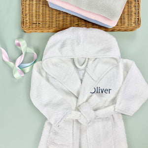 Little Love Bunny and Bathrobe Hamper, Blue - 0-12 Months with White Personalised Bathrobe