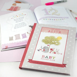 Personalised Baby Record Book, Blue