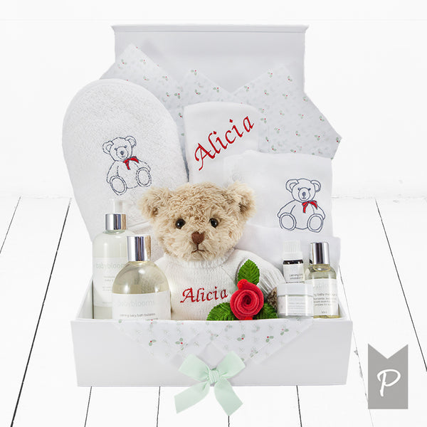 Personalised Christmas Teddy Baby Bath & Bedtime Hamper