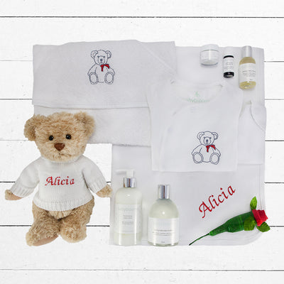 Personalised Christmas Teddy Bath & Bedtime Hamper