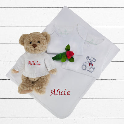 Personalised Christmas Teddy Baby Bedtime Hamper