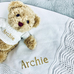 Personalised Bertie Bear and Crochet Blanket