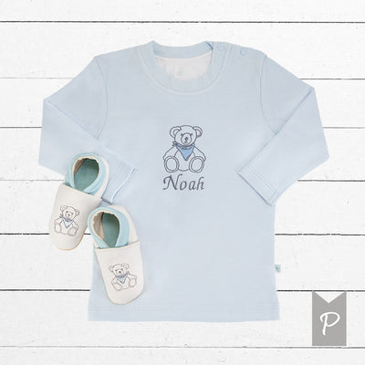 Personalised Teddy T-Shirt with Leather Baby Shoes, Blue