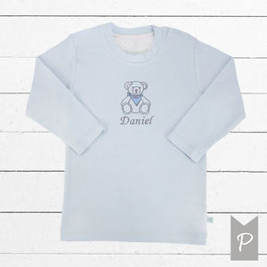 Personalised Embroidered Teddy T-Shirt, Blue