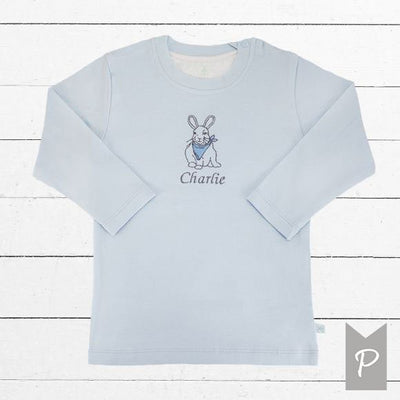 Personalised Embroidered Bunny T-Shirt - Blue