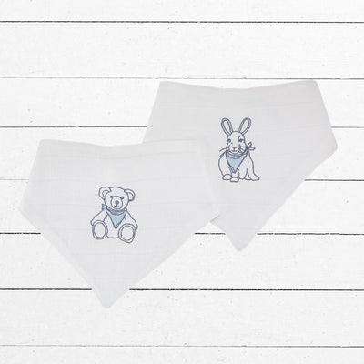 Embroidered Muslin Bib Set, Blue